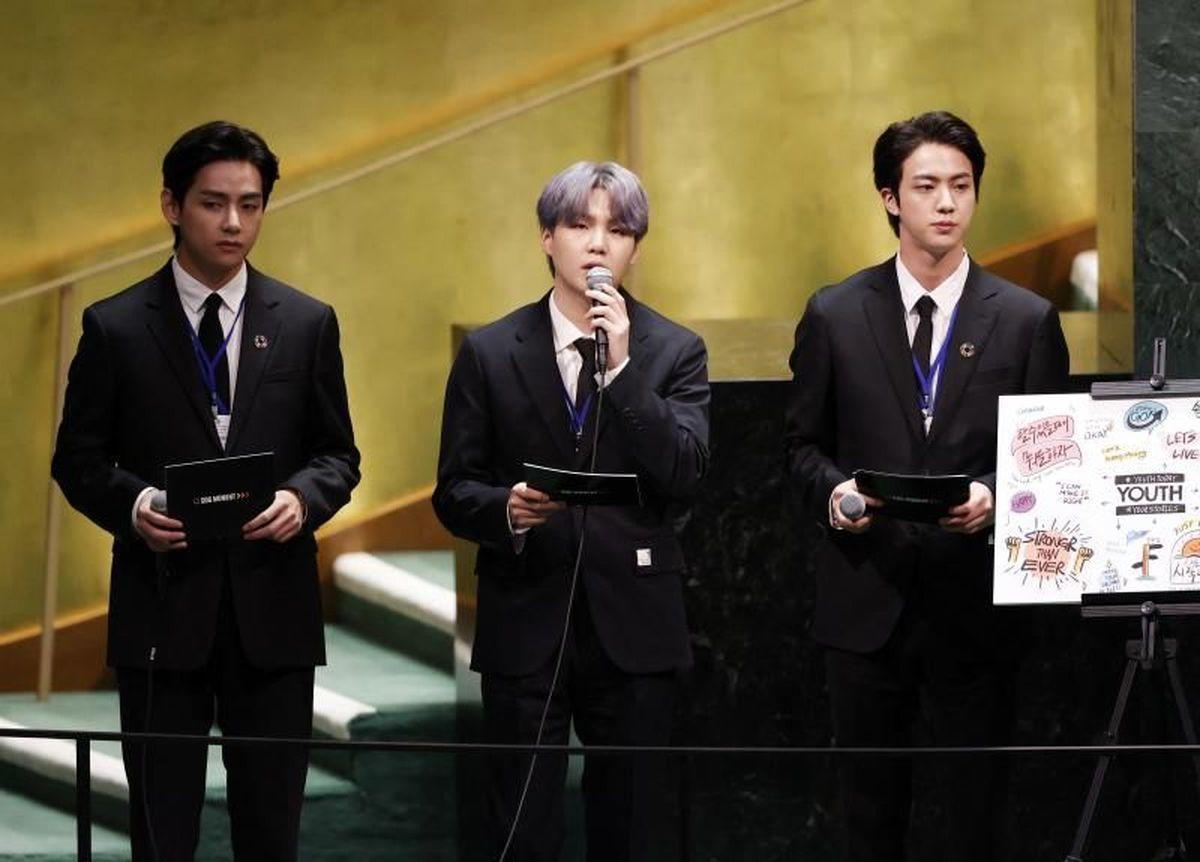 اجرای گروه بی تی اس در مجمع عمومی سازمان ملل/ عکس