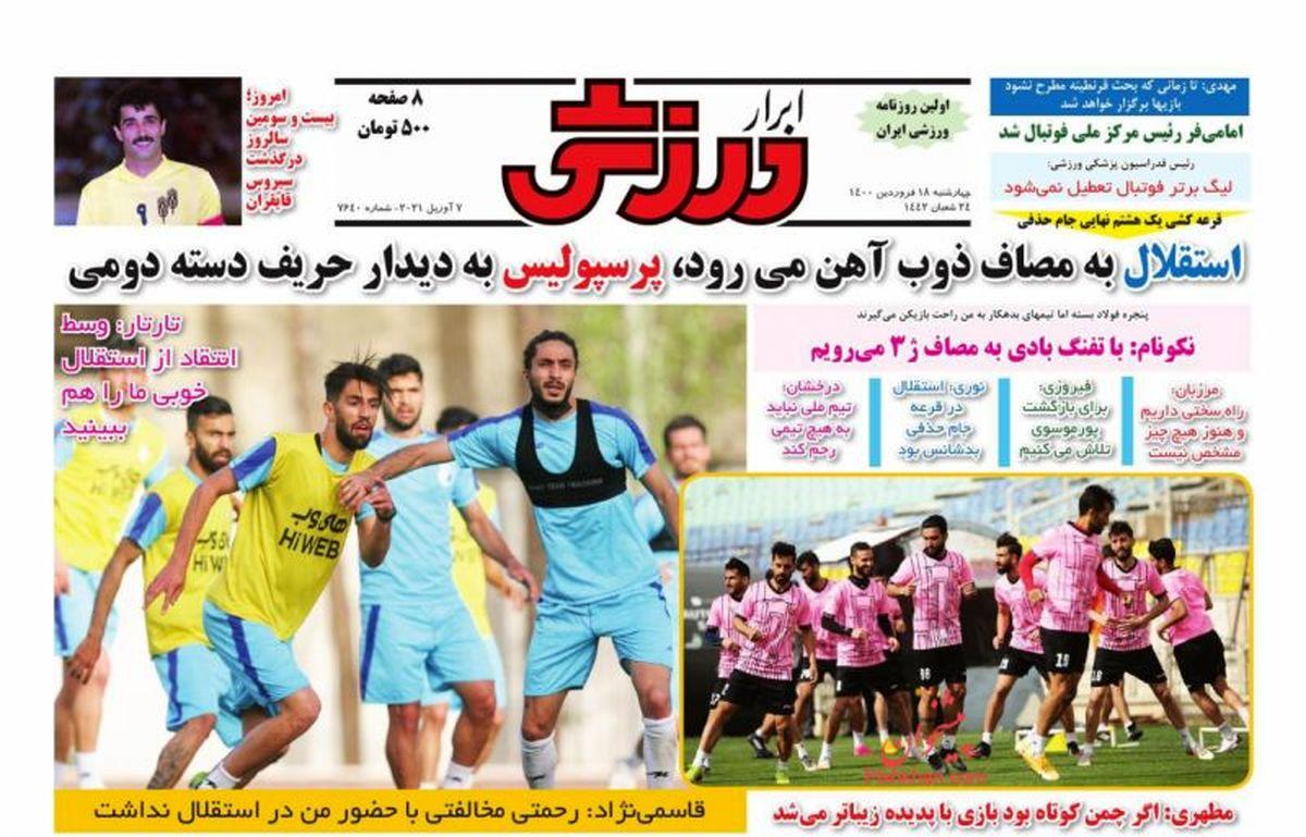 صفحه نخست روزنامههای صبح امروز پنجشنبه ۱۹ فروردین ۱۳۹۹
